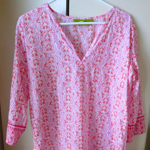 Rock Flower Paper cotton tunic top pink M